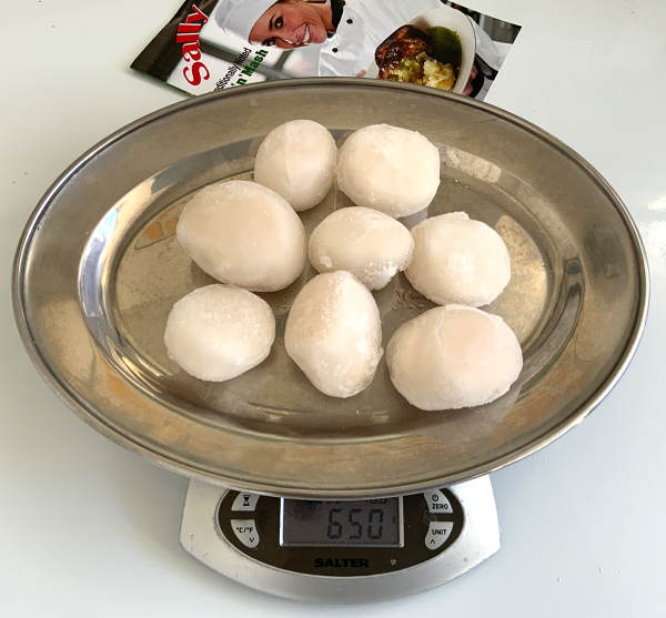 Frozen scallops are cheaper than fresh for a couple of reasons. Scallops can only be harvested in relatively good weather especially in the summer.